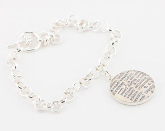 Sterling Silver toggle bracelet with definition of Dream