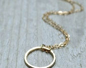 Gold Circle Necklace 14KT GoldFill Hammered Circle Gold Eternity Necklace Medium Simple Modern