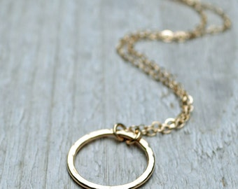 Gold Circle Necklace 14KT Gold Fill Hammered Ring Pendant Gold Eternity Necklace Circle Necklace Layering Necklace Gift Under 50