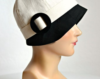 1920s Cloche in Cream and Black Linen- Women's Cloche Hat