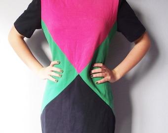 Vintage Color Block Dress - 1980s Knit P J Klein - Sheath Size Medium
