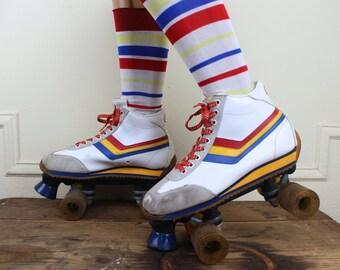 size 9, vintage 1980s rollerskates - white rainbow stripes, red, yellow, blue - 80s, skates, FREE FORMER, roller derby, roller rink