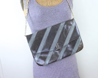 gray stripes, vintage 1980s leather + snakeskin oversized clutch with optional gold chain shoulder strap - VARON shoulder bag, purse