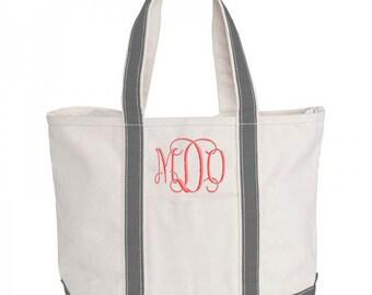 Monogrammed Beach Tote Bag Natural Canvas Medium Boat Bag Zipper Top Tote 5 Colors