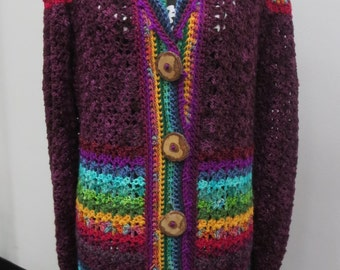 Crocheted Sweater Coat Aubergine Rainbow Merino Wool
