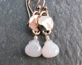 White Druzy Earrings in Bronze - White and Gold Tone Dangle Earrings - Modern Romance Collection