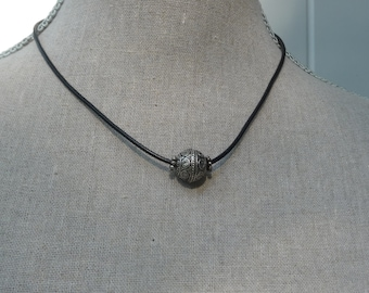 "Simple Black Leather  Necklace - Pewter Bead Focal - Sterling Clasp - Casual Every Day Jewelry - Adjust 16"" to 18"" inches - Teen Gift Idea"