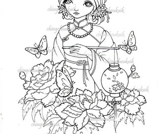 Lantern Night - Digital Stamp Instant Download / Oriental Asian Lantern Butterfly Peony Flower Girl Lady Fantasy Art by Ching-Chou Kuik