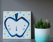 Screenprinted/painted tile the inner apple