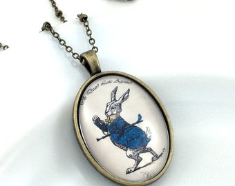 White Rabbit Necklace, Alice In Wonderland Jewelry, Fairytale Pendant, Oh Dear! Late Again!, Gift For Her, Jewelry For Her, Vintage Style