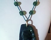 Elephant Carved Malachite Pendant Green Silk Knotted Cord Pendant Necklace