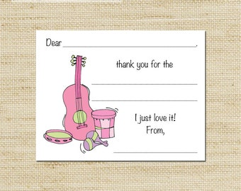 Girls Music Party Thank You Note Cards - 10 Music Instrument Cards & envelopes - Eco Friendly