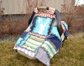 CAR SEAT Canopy and Baby Blanket With Deer Silhouette in Turquoise, Green, and Orange for Baby Boy, Woodland Baby Quilt