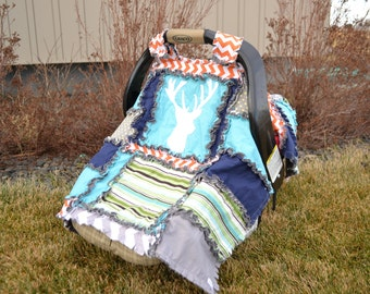 CAR SEAT Canopy- Baby Car Seat Blanket- Woodland Baby Boy Carseat Tent- Baby Blanket Car Seat Tent - Deer Silhouette - Turquoise, Navy, Gray
