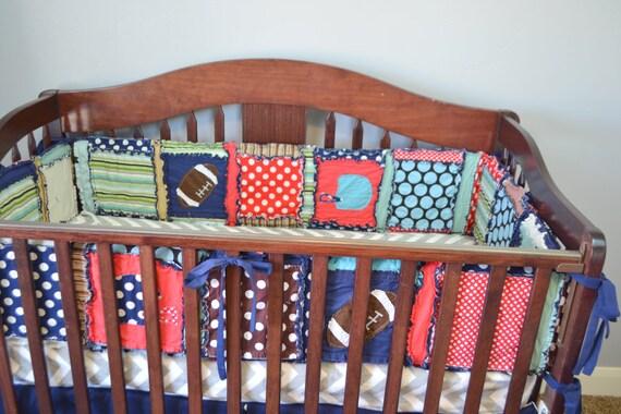 Items similar to Football Crib Bumpers - Baby Boy Nursey ...