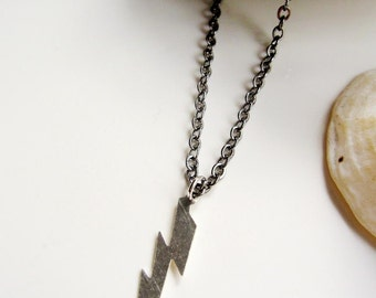 Silver Lightning Bolt, Womens Necklace, Mens Necklace, Zues, Unisex Necklace, Thunder Lightening Pendant Necklace Everyday Necklace