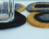 Coasters - Hand-knit Felted Wool - Gold, Black, Gray