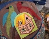 Folk Art Birds And Painted Tudor Bird House Tapestry Limited Edition BIG Messenger Bag