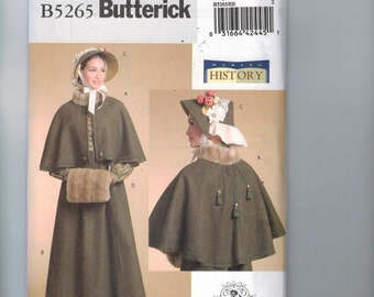 Misses Sewing Pattern Butterick B5265 5265 Making History HIstorical Costume Victorian Cape Bonnet Dickens Size 6-12 14-20 Multisize UNCUT