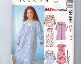 Girls Sewing Pattern McCalls M4646 4646 Girls Easy Pajamas Nightgown Size 6 7 8 Breast 25 26 27 UNCUT