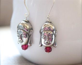 Swarovski Crystal Fuchsia Tibetan Buddha Earrings