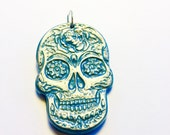 Large Turquoise and Silver Sugar Skull Day of the Dead Pendant or Ornament