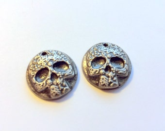 Black and Silver Day of the Dead Sugar Skulls Handmade Polymer Clay Beads