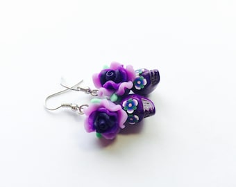 Sugar Skull Earrings Pleasant Purple Day of the Dead Roses and Sugar Skull Beads