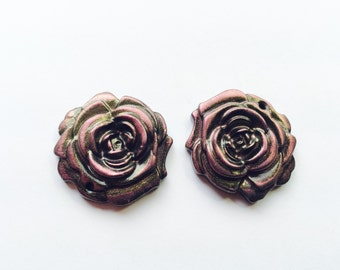 Black Pink and Interference Gold Handmade Polymer Clay 30 mm Rose Focal Beads