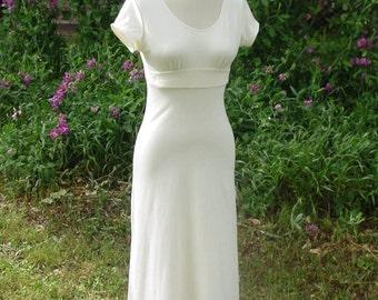 An Organic Wedding Dress with Empire Waist and Open Back/Bamboo/Organic Cotton/Hemp/Silk Embellishments . Custom Made