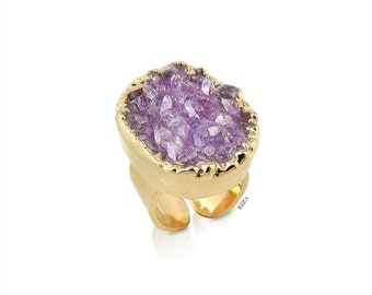 Amethyst Ring | Amethyst and Gold Ring | Amethyst Druzy Cluster Ring | Amethyst Jewelry | Amethyst Gemstone Ring | Large Gemstone Ring