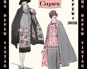 Vintage Sewing Pattern 1920's Flapper Capes Booklet Depew 3038 -INSTANT DOWNLOAD-