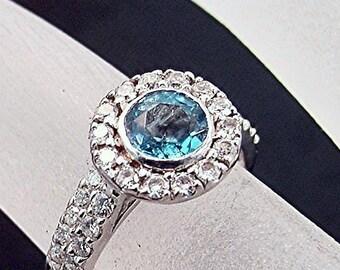 Swiss Blue Topaz 5 mm 14K white gold bridal set Total Diamond Weight of .55 Carats,14k White Gold Bridal Set. 457D