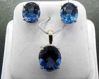 AAAA London Blue Topaz  stud earring pendant set. 21 carats TW Available in 14K and 18K gold plus sterling silver. 14x12mm 12x10mm MMM