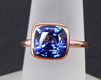 AAAA 8x8mm Cushion Cut Lab Grown Blue Sapphire 2.85 carats in a 14K Rose gold Engagement ring. 2058