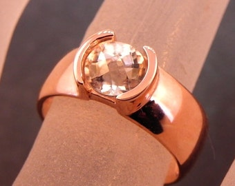 AAA Round Checkerboard Cut White Topaz   6.10mm  1.24 Carats   in 14K rose gold ring. 1014