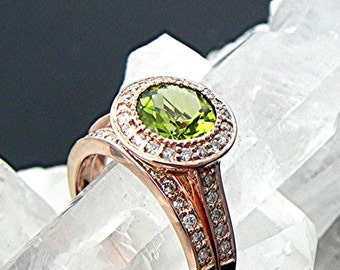 AAA Round Natural untreated  Peridot in 14K Rose gold bridal set with .35cts of diamonds. B007 1469