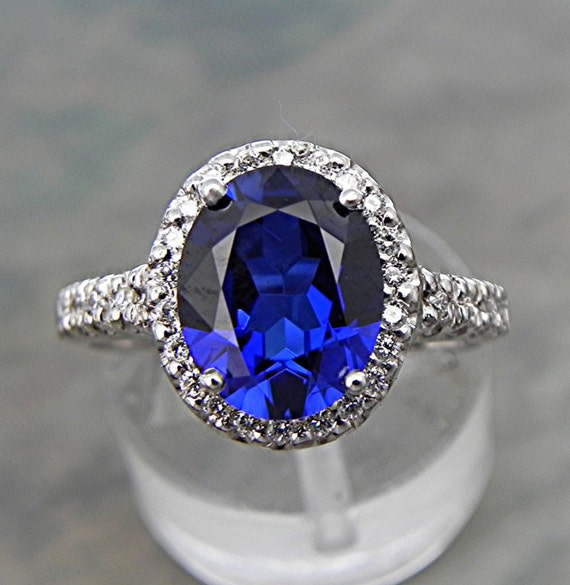 AAA Lab Blue Sapphire 10x8mm in a 14k White gold ring with diamonds (.30ct) Ring 0877 MMM