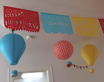 Happy Birthday Garland with NAME Personalized Banner Papel Picado Fiesta - 1st 2nd 3rd 4th 5th 15th 30th 40th birthday Quinceanera