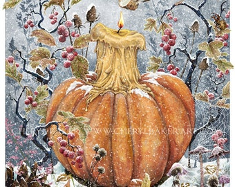 Christmas Decor - Whimsical Art - Yule Gift - Mice - Mouse Art - Winter Art - Pumpkin - Fall Art - Pumpkin Fall Decor - Christmas Mice