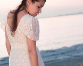 Cream Stretch Lace Wrap Wedding Dress with Slit - Casual Wedding - M