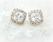Rose Gold Cushion Cut Square CZ Stud Earrings, Square Cubic Zirconia, Post Earring, Wedding, Clear Cubic Zirconia Bridal Earrings