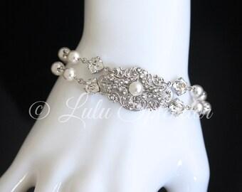 Pearl Crystal Bridal Bracelet Vintage style Pearl wedding Bracelet Double Strand Wedding Jewelry YASMIN