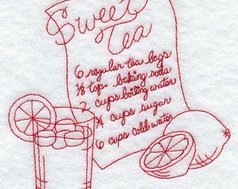 Redwork Embroidered Sweet Tea Recipe Flour Sack Kitchen Tea Towel