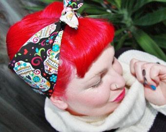Rockabilly/ Pinup/ Vintage/ 50s inspired head scarf, dolly bow, bandana. Sugar skull design w/ fuschia