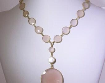 Cotton Candy Pink Rose Quartz Pink Onyx Gemstone 22k Bezel Chain Statement Necklace BZ-N-138-RQ
