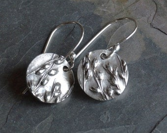 Sterling Silver Earrings Textured with Switchgrass Prairie Grass from the Midwest