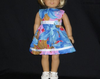 "18"" Doll Dress Handmade Tropical Blue Floral"