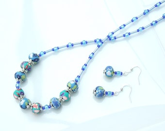 SET - Floral Blue Polymer Bead Necklace & Earrings