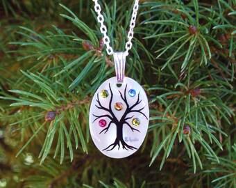 """Family Tree Necklace """"Small Oval"""" (4 stone maximum)"""